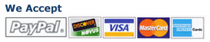 We Accept Paypal, Discover, Visa, Mastercard, and Amex